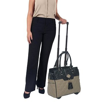 """""""THE MONTECARLO"""" Quilted Alligator Rolling 16"""" Laptop Carryall Trolley Bag"""