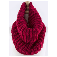Must Have Cable Knit Chunky Burgundy Tube Infinity Scarf