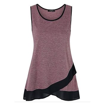 Women Long Tunic Tops O-Neck Patchwork Chiffon Irregular Hem T-shirts Knitted Women T-shirt Top