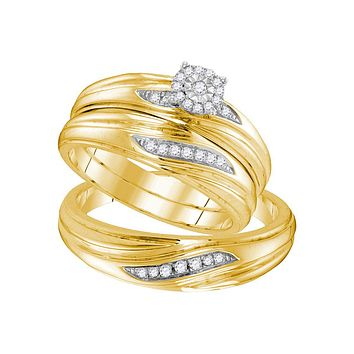 Yellow-tone Sterling Silver His & Hers Round Diamond Solitaire Matching Bridal Wedding Ring Band Set 1/5 Cttw