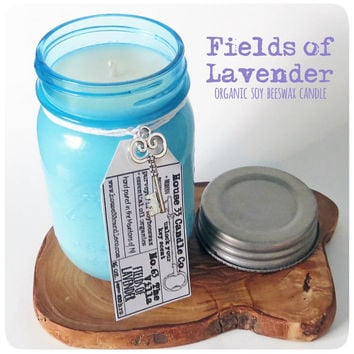 natural soy wax beeswax candle scent No. 63 The Villa // Fields of Lavender, vintage heritage blue ball canning jar, essential oils organic