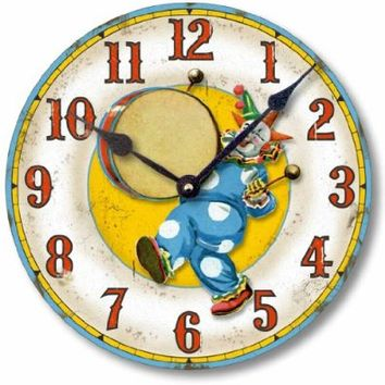 Item C6034 Vintage Style Circus Clown Clock (12 Inch Diameter)