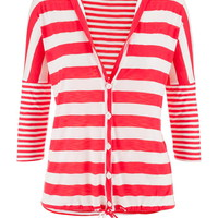 Striped Drop Shoulder Tie Bottom Cardigan