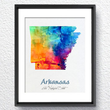 Arkansas Map USA, Watercolor Print, Art Print, Wall Art Poster, Wall Decor, Art Home Decor, Wall Hanging Item 111