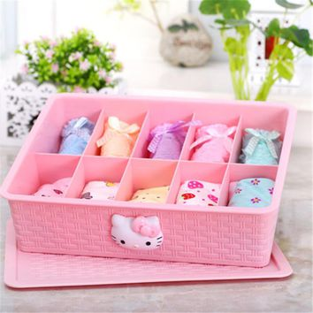 Plastic Storage Box Underwear Socks Cosmetics Hello Kitty 10 grid Storage Box with Cover 2D
