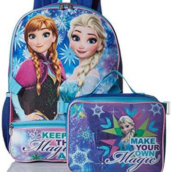 Disney Girls' Frozen Backpack with Lunch Hand Wash Front pocket