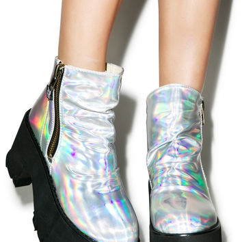 Hot!MeSS Spaced Out Platform Boots Hologram