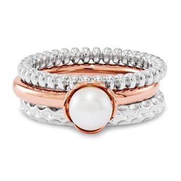Sterling Silver Stackable Expressions Rose Gold and Pearl Ring Set