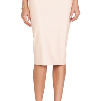 Bardot Leatherette Zip Midi Skirt in Blush