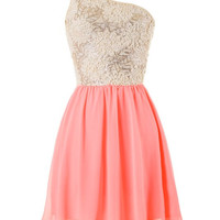 Sequin Flowers Dress: Coral