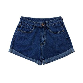 Summer High Waist Stretch Denim Shorts Slim Korean Casual Women Jeans Short Pants S-4XL