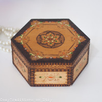 Boho Jewelry Box, Wooden Colorful Trinket Box with Floral Pattern, Wood Chest, Keepsake Box, Boho Style Home Decor
