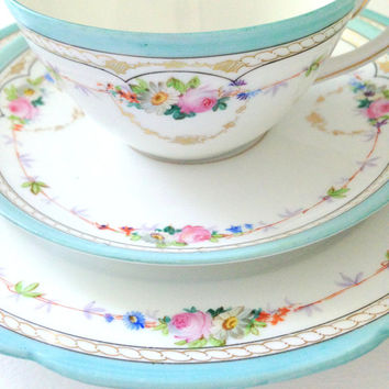 Antique French China Limoges Teacup, Saucer and Dessert Plate Vintage or Beach Inspired Wedding