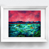 A Print Acrylic Colourful Expressionistic Impressionistic Modern Hungary Nature Tihany Balaton Lake Painting by Gedvil 2015 A5 / A4 / A3