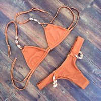 Shell Halter Bikini Swimsuit