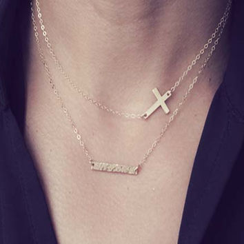 Layered Cross Necklace/Sideways Cross Necklace /Hammered Bar Necklace /Small Sideways Cross Necklace /Gold or SIlver Sideways Cross Necklace