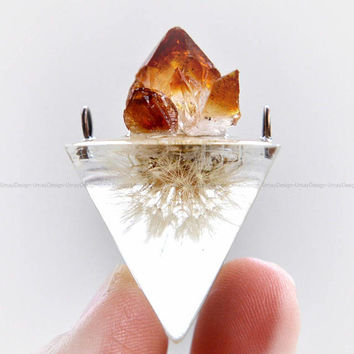 A Real Dandelion Seed, Cute Mini Dandelion, Resin, Citrine Crystals, Pendant, Copper Wire Rings, Necklace, Handmade, Boho, Pretty, Unique