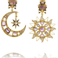 Percossi Papi - Diego Sun and Moon gold-plated amethyst earrings