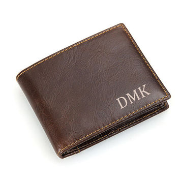 Personalized Men's Leather Wallet, Men's Wallet, Leather Wallet for Men, Custom Men's Wallet, Mens Wallet Engraved,