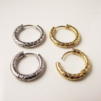2Piece Free Shipping Stainless Steel Punk Hoop Snake Gold Earring Circle Huggie Earrings Men Body Piercing Jewelry helix tragus
