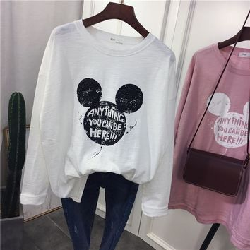 New Autumn Fashion T-shirt O-Neck Full Sleeve Linen Cotton Mickey T Shirt Women Printing Tops Tees Female Girls Boys Streetwear