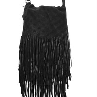 This crossbody bag features an embossed pattern design genuine suede flap with long fringe around the edge, layered fringe around the bottom edge detailing, and adjustable crossbody strap. An interior front-wall pocket and solid fabric lining and finish wi