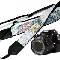 DSLR Camera Strap. World Map Camera Strap. Camera accessories. Photographer gift.
