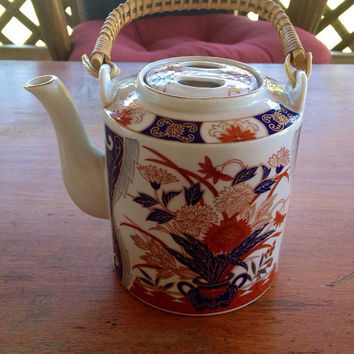 Asian Carnations Teapot Fred Roberts San Francisco Porcelain Tea Pot Wicker Handle Japan
