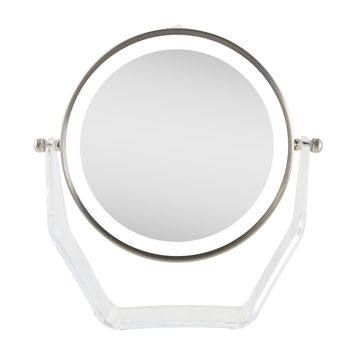 Zadro Next Generation Two-Sided LED Lighted Vanity Swivel Mirror in Acrylic Base with 1X & 8X magnification. Satin Nickel