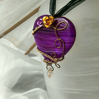 Purple Heart Wire Wrapped Necklace Pendant Fantasy Goth Boho forest Fairy whimsy OOAK