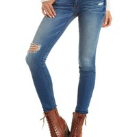 Sneak Peek Low Rise Distressed Skinny Jeans