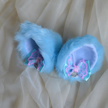 Kitten play clip on cat ears with ribbon bows and heart - neko lolita cosplay costume - kitten play gear accessories - pink and baby blue