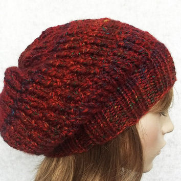 FREE SHIPPING Hand Knitted Women Hat in Brick Color,Tweed,Men Hat,Handmade Slouchy Hat,Wool Winter Beret,Warm Bulky Hat,Knit Women Accessory