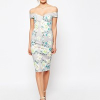 ASOS Bardot Off The Shoulder Hitchcock Pencil Dress In Grey And Lime Floral