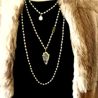 Long Boho White Bead Necklace with Crystal Arrowhead Pendant