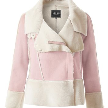 LE3NO Womens Zipped Up Closure Faux Suede Shearling Coat Jacket