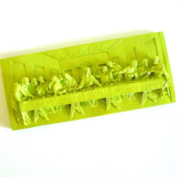 last supper wall plaque, lime green, neon, pop art, jesus art, religious sculpture, kitschy