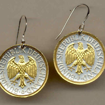 Gorgeous 2-Toned Gold on Silver German  Eagle Coin Earrings
