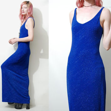 90s Vintage METALLIC Dress Electric Blue Thin Straps Club Kid Long Maxi vtg 1990s S