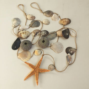 Coastal Home Decor Beach Wedding Decor Seashell Garland Wedding Wall Hanging Starfish