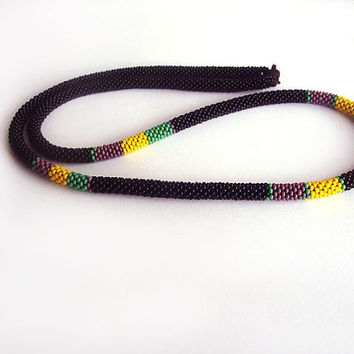 Beads crochet ropes necklace color block, long black green purple yellow necklace ,rope jewelry ,beaded necklace, beadwork
