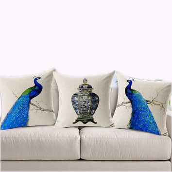 """45*45cm Real High Qulity Peacock Sofe Cushion Covers Decorative Vintage Blue Linen Square Cushion Cover 18"""" Christmas Gift"""