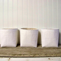 vintage white woven blanket basket - linen- storage - organization - home decor - gift basket