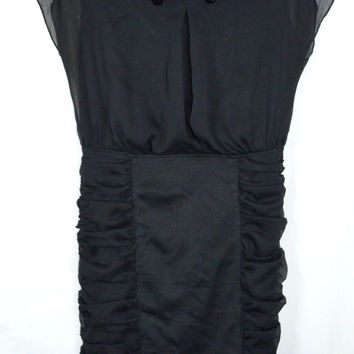 Size 6 Black Dress Shirred Ruched Sheer Shell Beaded Intermission