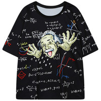 Black Einstein Figure Printed Tee