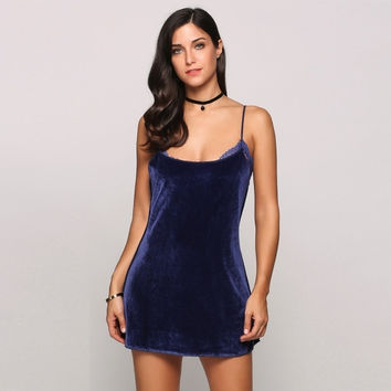Velvet Spaghetti Strap Sleeveless Sexy Lace Patchwork Slip Going Out Dress