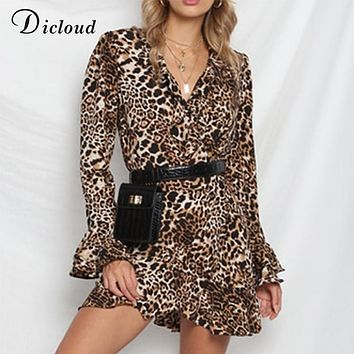 Dicloud leopard dress women autumn winter ruffle long sleeve v neck sexy bodycon mini dress casual wrap party vestidos de fiesta
