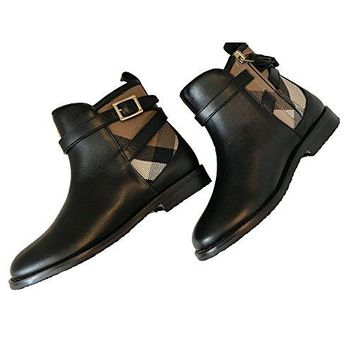 Burberry Girl Richardson Leather and Check Ankle Boot 29EU/12US