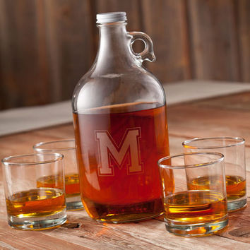Engraved Whiskey Growler set with 4 lowball glasses , Groomsman gift, birthday, wedding, mens gifts, Boyfriends Gift Free Engraving - (1094)