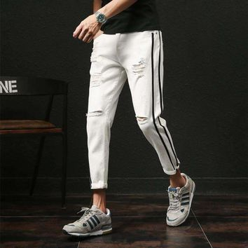 Pants Mens JeansDesigner Slim Fit Ripped Denim Pant Boys Side Stripe Ankle LengthMens Trousers